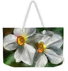 Weekender Tote Bag featuring the painting Daffodils by Dragica  Micki Fortuna