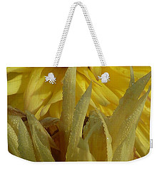 Weekender Tote Bag featuring the photograph Dahlia Dew Yellow by Susan Garren