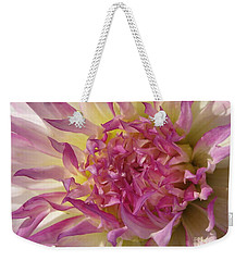 Weekender Tote Bag featuring the photograph Dahlia Named Angela Dodi by J McCombie