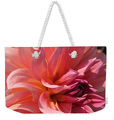 Weekender Tote Bag featuring the photograph Dahlia Named Fire Magic by J McCombie