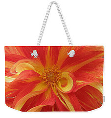 Dahlia Unfurling In Yellow And Red Weekender Tote Bag by Dora Sofia Caputo Photographic Art and Design