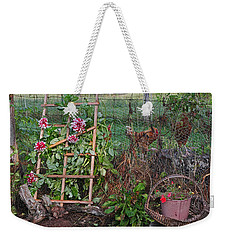 Weekender Tote Bag featuring the photograph Dahlias And Chickens by Denise Romano