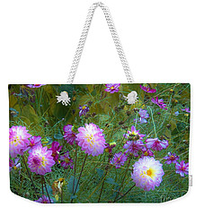 Weekender Tote Bag featuring the photograph Dahlias And Cosmos  by Judy Via-Wolff