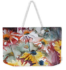 Weekender Tote Bag featuring the painting Daisies by Jani Freimann