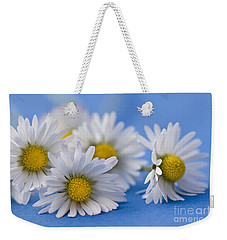 Daisies On Blue Weekender Tote Bag by Jan Bickerton