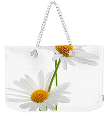 Daisies On White Background Weekender Tote Bag by Elena Elisseeva