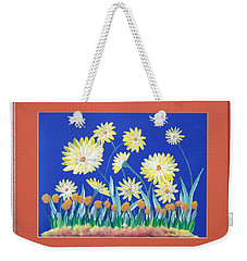 Weekender Tote Bag featuring the painting Daisies by Ron Davidson