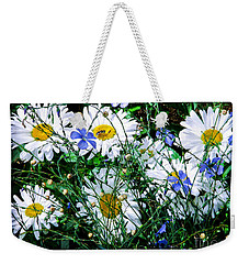 Daisies With Blue Flax And Bee Weekender Tote Bag by Roselynne Broussard