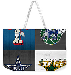 Dallas Sports Fan Recycled Vintage Texas License Plate Art Rangers Mavericks Cowboys Stars Weekender Tote Bag by Design Turnpike