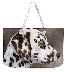 Dalmatian Puppy Painting Weekender Tote Bag by Rachel Stribbling