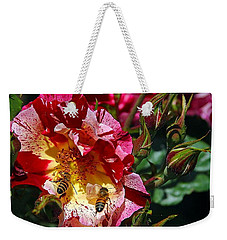 Weekender Tote Bag featuring the photograph Dancing Bees And Wild Roses by Absinthe Art By Michelle LeAnn Scott