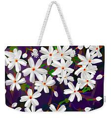 Weekender Tote Bag featuring the digital art Dancing Coral Jasmines by Latha Gokuldas Panicker