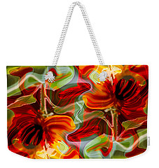 Weekender Tote Bag featuring the painting Dancing Flowers by Omaste Witkowski