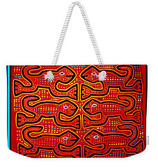 Weekender Tote Bag featuring the digital art Dancing Geckos by Vagabond Folk Art - Virginia Vivier