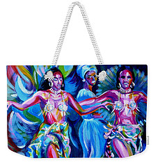 Weekender Tote Bag featuring the painting Dancing Panama by Anna  Duyunova