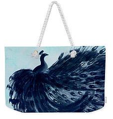 Dancing Peacock Aqua Weekender Tote Bag by Anita Lewis