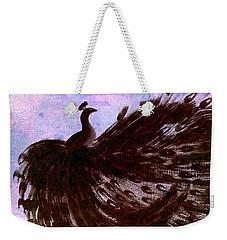 Dancing Peacock Blue Pink Wash Weekender Tote Bag by Anita Lewis