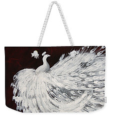Dancing Peacock Burgundy Weekender Tote Bag by Anita Lewis