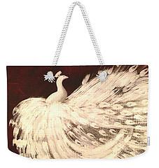 Dancing Peacock Cream Weekender Tote Bag by Anita Lewis