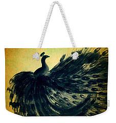 Dancing Peacock Gold Weekender Tote Bag by Anita Lewis