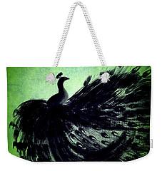 Dancing Peacock Green Weekender Tote Bag by Anita Lewis