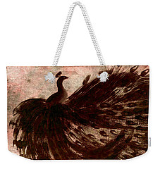 Dancing Peacock Grey Weekender Tote Bag by Anita Lewis