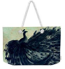 Dancing Peacock Mint Weekender Tote Bag by Anita Lewis