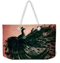 Dancing Peacock Pink Weekender Tote Bag by Anita Lewis