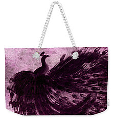 Dancing Peacock Plum Weekender Tote Bag by Anita Lewis