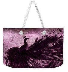 Dancing Peacock Plum Weekender Tote Bag