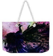 Dancing Peacock Rainbow Weekender Tote Bag by Anita Lewis