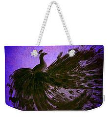 Dancing Peacock Vivid Blue Weekender Tote Bag by Anita Lewis