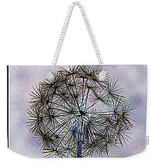 Weekender Tote Bag featuring the photograph Dandelion Blue And Purple by Kathy Barney