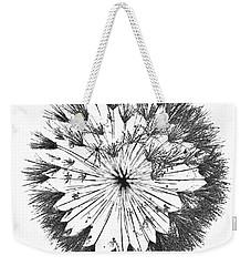 Weekender Tote Bag featuring the digital art Dandylion Black On White by Clayton Bruster