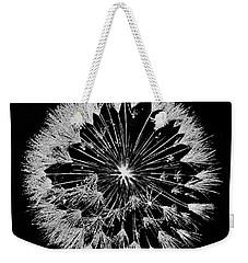 Weekender Tote Bag featuring the digital art Dandylion White On Black by Clayton Bruster