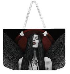 Weekender Tote Bag featuring the painting Dark Angel by Pat Erickson