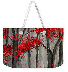 Dark Passion- Red And Gray Art Weekender Tote Bag