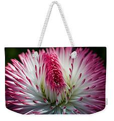 Dark Pink And White Spiky Petals Weekender Tote Bag