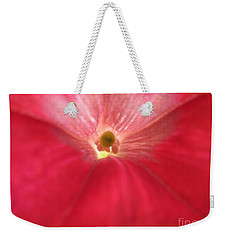 Red Petunia Center 1 Weekender Tote Bag by Barbara Yearty