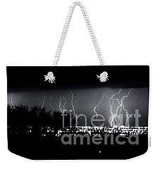 Weekender Tote Bag featuring the photograph Darkness Symphony-15x72-signed by J L Woody Wooden