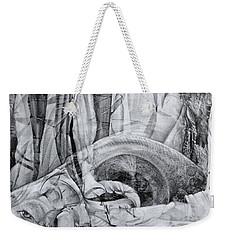 Weekender Tote Bag featuring the drawing Das Monster Hat Sich Im Ungebuegelten Hintergrund Versteckt by Otto Rapp