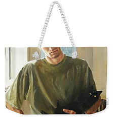 Weekender Tote Bag featuring the painting David And Pulim by Lori Brackett