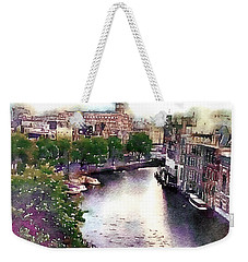 Weekender Tote Bag featuring the photograph Dawn Rain Amsterdam by Susan Maxwell Schmidt