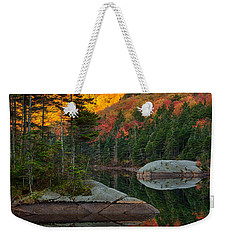Weekender Tote Bag featuring the photograph Dawns Foliage Reflection by Jeff Folger