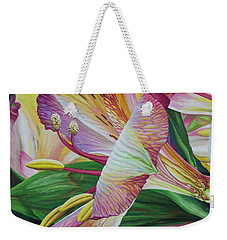 Weekender Tote Bag featuring the painting Day Lilies by Jane Girardot