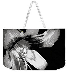 Weekender Tote Bag featuring the photograph Daylily In Gray by Ludwig Keck