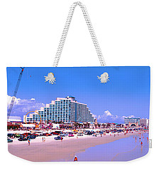 Weekender Tote Bag featuring the photograph Daytona Main Street Pier And Beach  by Tom Jelen