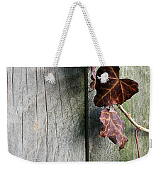Weekender Tote Bag featuring the photograph Dead Ivy And Fence Post by Mary Bedy