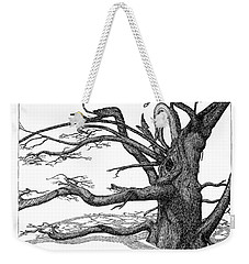 Weekender Tote Bag featuring the drawing Dead Tree by Daniel Reed