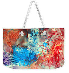 Weekender Tote Bag featuring the painting Decalcomaniac Colorfield Abstraction Without Number by Otto Rapp
